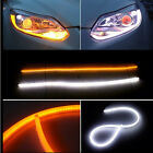 2x 60CM FLEXIBLE TUBE White-Amber Car Headlight LED Strip DRL Daytime Run Lights