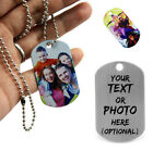 Personalised Print Photo/Text Stainless Steel Army Dog Pet Tags Pendant Necklace