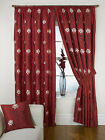 Akita Ready Made Fully Lined Tape Curtains - Red