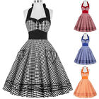 Womens Short Polka Dots Halter 50s 60s Vintage Dress Swing Pinup Mini Party Ball