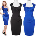 VINTAGE WOMEN 50S 60'S SATIN PINUP HOUSEWIFE PARTY PROM PENCIL DRESS