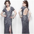 Primavera Couture 9928 Shimmering short-sleeved evening gown charcoal$439 vgowns