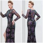 nwt primavera  couture  long sleeve sheer-back gown in black multi sequin $432