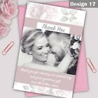 Personalised Wedding Vintage Text Thank You Cards Flat or Folded