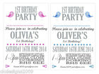 Personalised Boy Girl Bird Birthday Party Invites Invitations