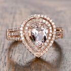 6x8mm Pear Cut Morganite Pave Diamonds Engagement Ring 14K Rose Gold