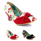 Womens Irregular Choice Dazzle Pants Cherry Kitten Heel Court Shoes UK 3.5-8.5