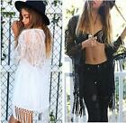 Women Boho Fringe Kimono Cardigan Tassels Top Beach Cover Up Cape Jacket Z