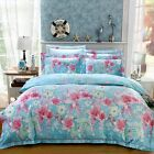 New Quilt Covers Queen Size Bed Duvet/Doona Cover Set Pillowcases Cotton Blue