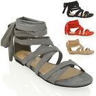 WOMENS LACE UP FLAT ANKLE TIE WRAP SUMMER LADIES STRAPPY GLADIATOR SANDALS