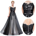 50s Vintage Applique Evening Ball Gown Wedding Party Prom Bridesmaid Maxi Dress