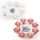 8x 3D Rose Ceramic Knobs Kitchen Cupboard Cabinet Drawer Pulls Furniture Handle