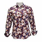TR Premium Men Slim Fit Button Down Long Sleeve Floral Design Shirt 700 Burgundy