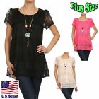 (PLUS SIZE) Blouse Cutout Crochet Lined Tunic with Chain Mecklace Top B318 SD_M