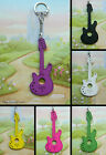 GUITAR KEYRING WOODEN BRIGHT GREEN BLUE PINK WHITE BLACK