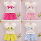 Toddler Kids Baby Girls Summer Outfits Clothes T-shirt Tops short pants cotton