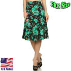 (PLUS SIZE) A-Line Skirt Printed Knee Length Hem w/ Banded Waist S039 FL BMT-X_M
