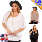 (Plus Size) Open Sleeves Round Neck Pendant Necklace Sheer Top YPT-6954_JS