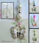 BUTTERFLY CRYSTAL CAR MIRROR DANGLE CHARM  PINK WHITE GREEN BLUE