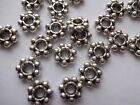 Heavy Duty 3mm Hole Pewter Daisy Beads 8mm x 2.5mm thick Antique Silver