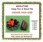 1 x MINIATURE fairy garden camp fire - CHOOSE YOUR SIZE - clay camping fire pit