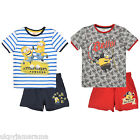 Boys Pixar Shorts & T Shirt Set Despicable Me Minions NEW 3 4 6 8 Yrs