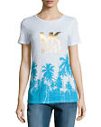 Michael Kors Short Sleeve Palm Tree Shirt Neon Turquoise Size M,L