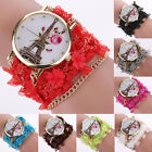 Women's Fashion Eiffel Tower Flower Lace Wrap Stainless Steel Quartz Wrist Watch