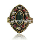 1PC Alloy Antique Copper Charm Vintage Crystal Rhinestone Jewelry Rings 23x16mm