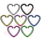 Love Heart Clip On Fake Cartilage Ear Ring CHOOSE SINGLE OR PAIR