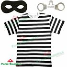 Mens Burglar Thief Fancy Dress costume Stag party Black White Striped Top outfit