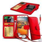 For HTC One X+ - Clip On PU Leather Wallet Case & Earphone