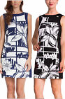 DESIGUAL PALAM DRESS 36-44 8-16 RRP£94 BLUE BLACK & WHITE SHIFT PATCH SQUIGGLE