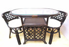 Borneo Handmade Rattan Wicker COMPACT Dinette Dining Set,Oval Table 2 Chairs