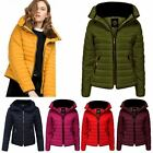 New Womens Ladies Quilted Padded Puffer Bubble Fur Collar Warm Thick Jacket Coat