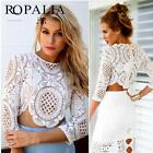 Summer Women's Cropped Tops Long Sleeve T Shirt Crochet Lace Floral Blouse UK
