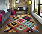 Large Modern Patchwork Aztec Rug New Bright Colourful Vibrant Rugs Small Mats