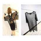 Sexy 2 Colors See Through Mesh Nets Short Sleeve Oversize Shirt Tops Blouse