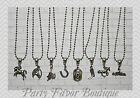 Cowgirl / Set of 8 / Silver Charm Necklaces / Personalize-Birthstone,Initial