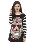Jawbreaker Goth Punk Gothic Sugar Skull Sour White Knit Sweater Stripes Calavera