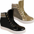 Ladies Womens Hi Top Glittery Fashion Sneakers Girls Ankle Boots Trainers Shoes