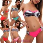 Bikini woman swimsuit underwire laces striped two pieces sea new XK16064