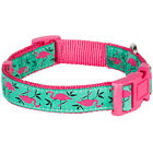Blueberry Pet Pink Flamingo on Light Emerald Adjustable Small Large Dog Collar