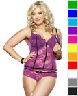 New Dreamgirl 9103X Plus Size Lace Bustier And Panty Set