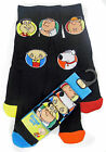 Men's Family Guy 5 pack socks Shoe 6-8 and 9-12 Black with Coloured Toe RRP £8