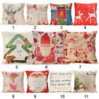 Vintage XMAS Linen Cotton Cushion Cover Waist Throw Pillow Case Home Sofa Decor