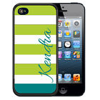 PERSONALIZED RUBBER CASE FOR iPHONE 5 5S 5C SE 6 6S PLUS LIME DARK TEAL STRIPES
