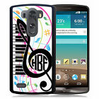 MONOGRAMMED RUBBER CASE FOR LG G3 G4 G5 MUSIC NOTES TREBLE CLEF PIANO