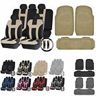 UAA Heavy Duty CAR Rubber Mats & Dual-Stitch Racing Polyester Seat Covers Set