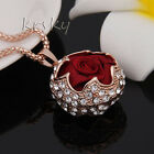 Womens Gold Plated Crystal Flowers Pendant Rhinestone Long Chain Sweater Necklac